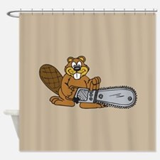 Chainsaw Beaver Shower Curtain