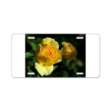 Yellow Rose Aluminum License Plate