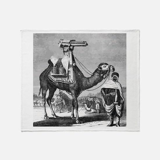 Camel With Machine Gun Throw Blanket