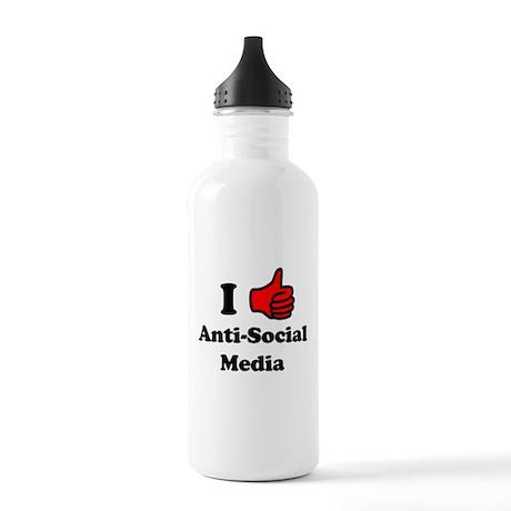 I LIke Anti-Social Media Stainless Water Bottle 1.
