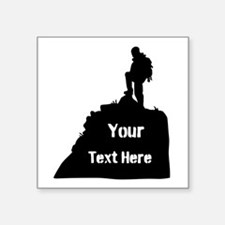 Hiking Climbing. Your Text. Square Sticker 3