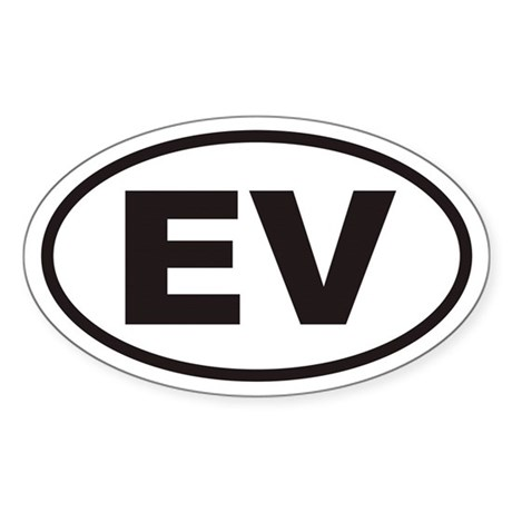 EV Electric Vehicle Euro Oval Sticker
