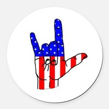I Love USA Sign Language hand Round Car Magnet