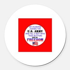 My Husband Joined the Army Round Car Magnet