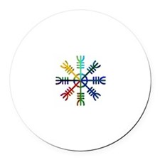 Multi Colored Helm Round Car Magnet