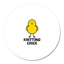 Knitting Chick Round Car Magnet