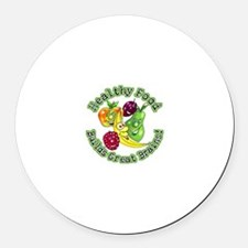 Healthy Food Builds Great Brains! Round Car Magnet