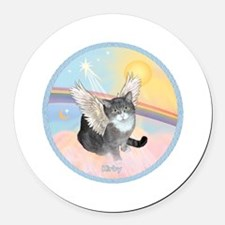 Cat Angel Kirby Round Car Magnet