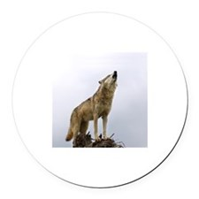 Wolf on top of the world Round Car Magnet