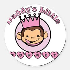 Daddy's Little Monkey (girl) Round Car Magnet