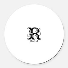 Rachel: Fancy Monogram Round Car Magnet