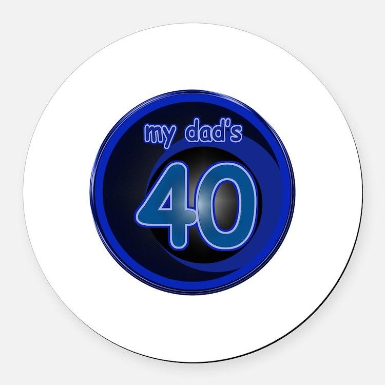 Dad's 40th Bday Round Car Magnet