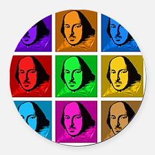 Pop Art Shakespeare Round Car Magnet
