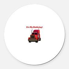 Semi Truck Birthday Round Car Magnet