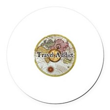 """Travel Addict"" Round Car Magnet"