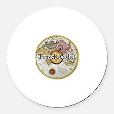 """""""Travel Addict"""" Round Car Magnet"""