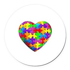 Jelly Puzzle Heart Round Car Magnet