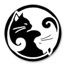 Yin Yang Cats Round Car Magnet