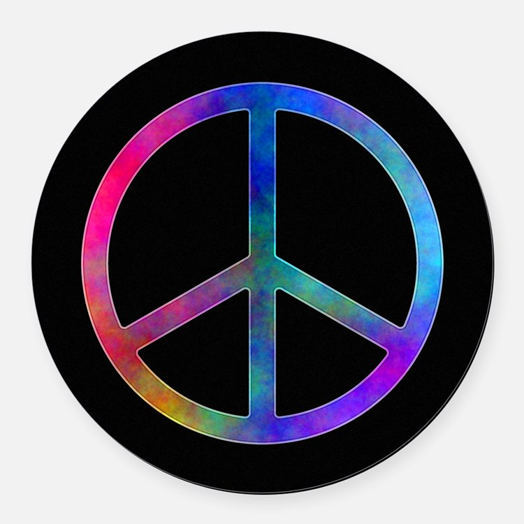 Multicolor Peace Sign Round Car Magnet