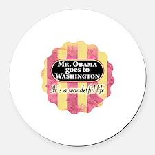 James Stewart/Barack Obama holiday Round Car Magne