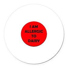 Dairy Allergy Round Car Magnet