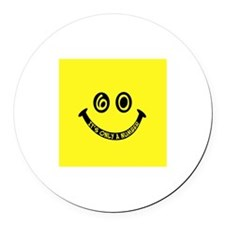 60th birthday smiley face Round Car Magnet