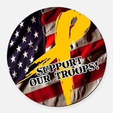 Support Our Troops Round Car Magnet