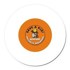 Save a Kid Round Car Magnet