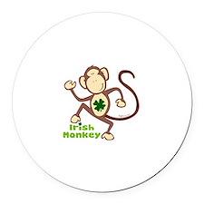 Shamrock Irish Monkey Round Car Magnet