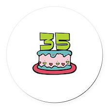35th Birthday Cake Round Car Magnet