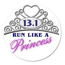 Run Like A Princess Round Car Magnet