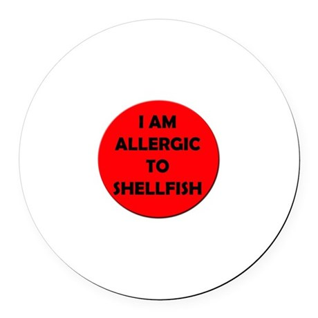 Red Shellfish Allergy Round Car Magnet
