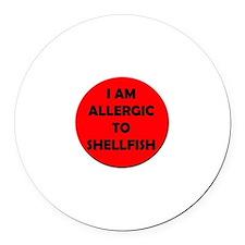Red Shellfish Allergy Round Car Magnet