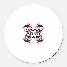 Patriotic Proud Army Dad Round Car Magnet