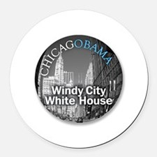 windy City White House Round Car Magnet