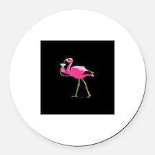 Pink Flamigo With Martini Round Car Magnet