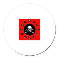 Pirate Flags, Red Jolly Roger Round Car Magnet