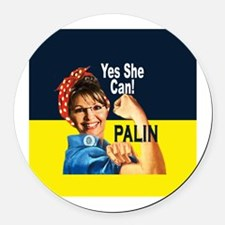 Sarah Palin - YES SHE CAN! Round Car Magnet