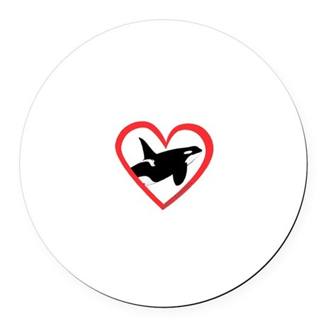 Orca Heart Round Car Magnet