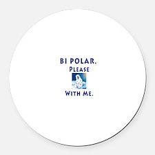 Bipolar Bear Round Car Magnet