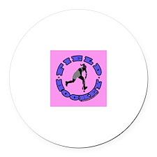 Field Hockey Girl Round Car Magnet