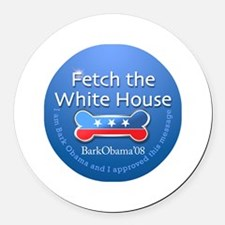 Bark Obama Fetch the White House Round Car Magnet