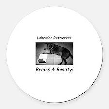 Brains & Beauty Round Car Magnet