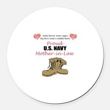 Proud US Navy Mother-in-Law Round Car Magnet
