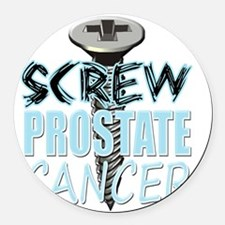 Screw Prostate Cancer Round Car Magnet
