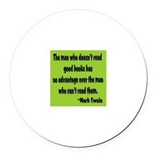 Twain--Good Books Round Car Magnet