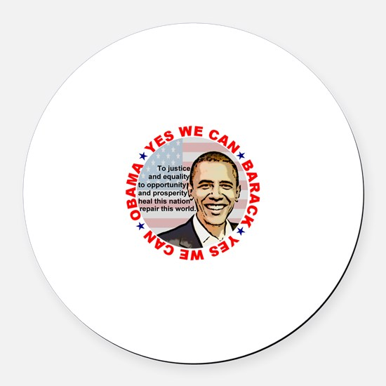 Barack Obama - Yes We Can Round Car Magnet