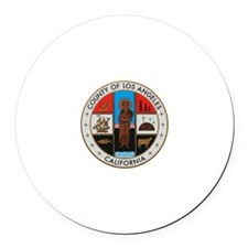 LA County Seal with Cross Round Car Magnet