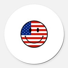 Patriotic Smiley Face Round Car Magnet