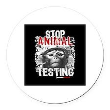STOP ANIMAL TESTING - Round Car Magnet